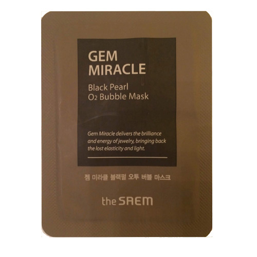 Маска кислородная с экстрактом жемчуга пробник Gem Miracle Black Pearl O2 Bubble Mask-Sample 3мл, The Saem